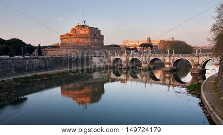 Rome Italy - Castel S.Angelo at sunset