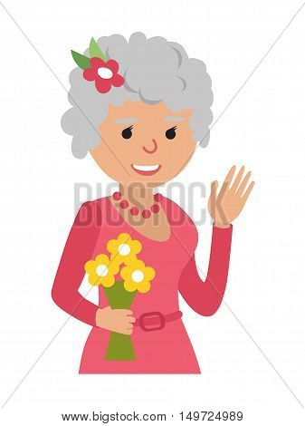 Senior cute woman head flat icons. Isolated avatar on white background