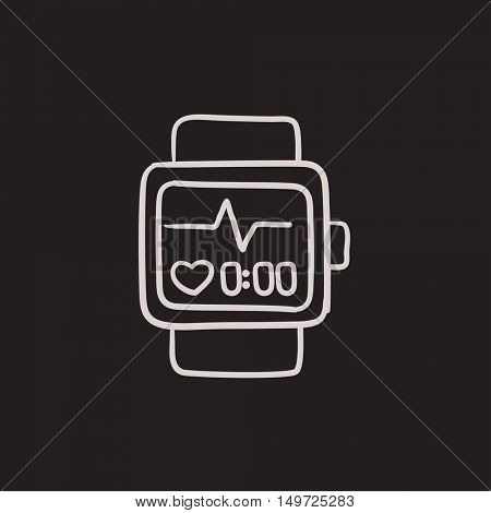 Smartwatch vector sketch icon isolated on background. Hand drawn Smartwatch icon. Smartwatch sketch icon for infographic, website or app.