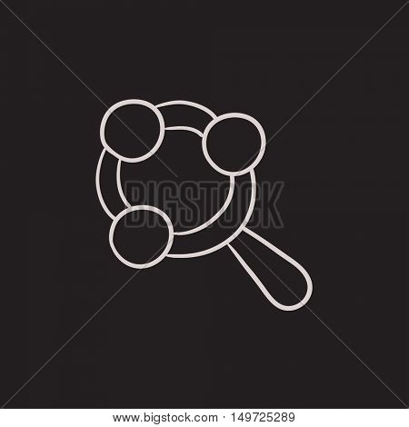 Baby rattle vector sketch icon isolated on background. Hand drawn Baby rattle icon. Baby rattle sketch icon for infographic, website or app.