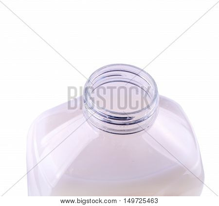 New opened clear plastic bottle with a pink liquid for washing