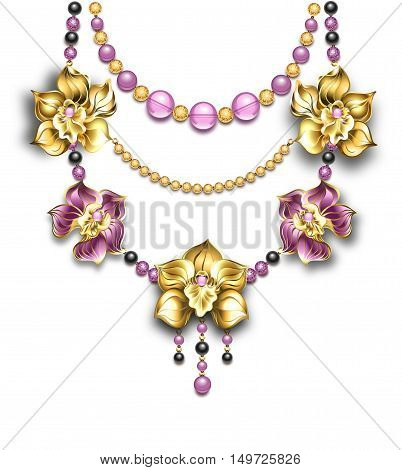 Necklace of pink gold black beads and gold orchids on a light background. Design jewelry. Golden Orchid. Trendy color Bodacious