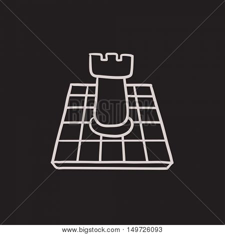 Chess vector sketch icon isolated on background. Hand drawn Chess icon. Chess sketch icon for infographic, website or app.