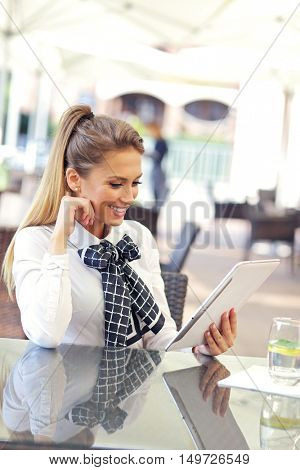 Picture of young manager working cafe