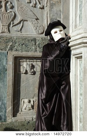Person in costume of Casanova at St. Mark's Square during the Carnival of Venice on March 28, 2011