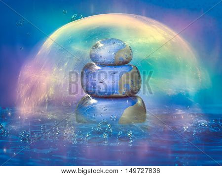 Cairn filled with water inside the water. Rainbow glow cocoon