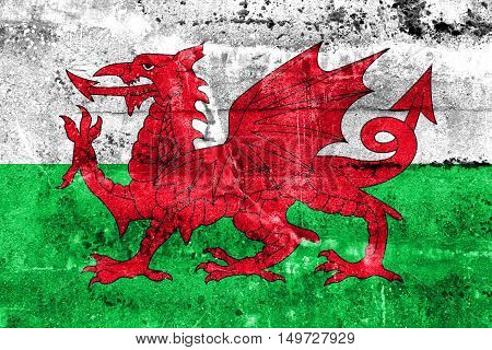 Flag Of Wales, Uk, Painted On Dirty Wall