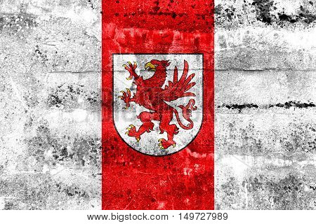 Flag Of West Pomeranian Voivodeship, Poland, Painted On Dirty Wall