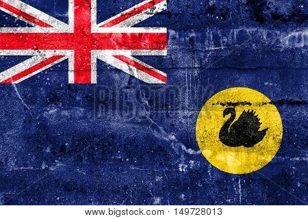 Flag Of Western Australia State, Australia, Painted On Dirty Wall