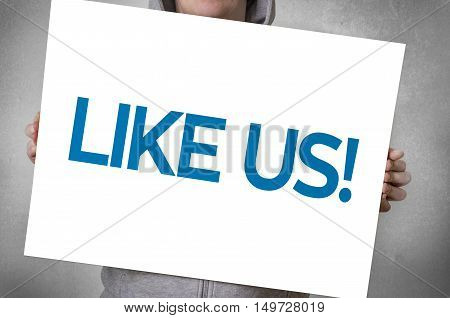 Like us card. Media and social network concept.