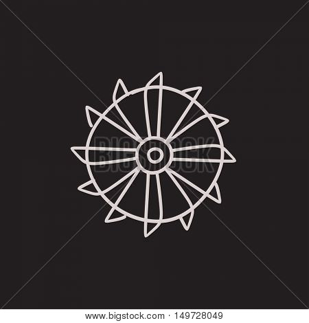 Rotating cutting drum of coal machine vector sketch icon isolated on background. Hand drawn cutting drum of coal machine icon. Cutting drum of coal machine sketch icon for infographic, website or app.