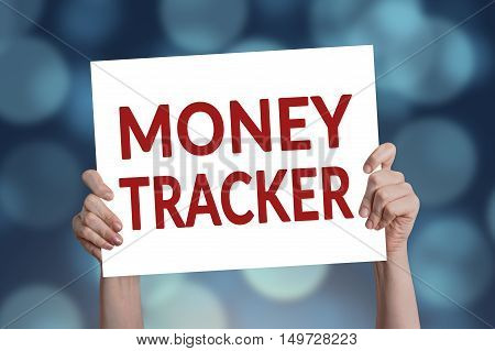 Money tracker card with blue bokeh lights background