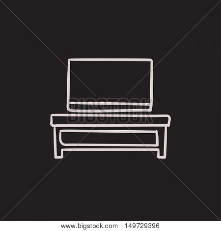 Flat screen tv on modern tv stand vector sketch icon isolated on background. Hand drawn Flat screen tv on tv stand icon. Flat screen tv on modern tv stand sketch icon for infographic, website or app.