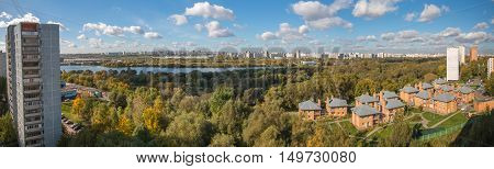 Russia, Moscow, 2016, 1st of October: Kapotnya and Brateevo outskirts of UVAO Moscow, Russia. Autumn view of city park and Moscow River. Morning