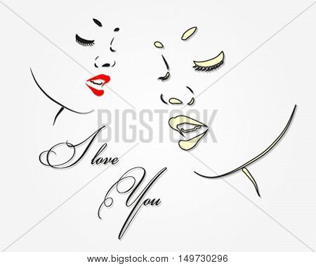 Greeting card women's day with a picture of a beautiful female face, delicate silhouette of a girl