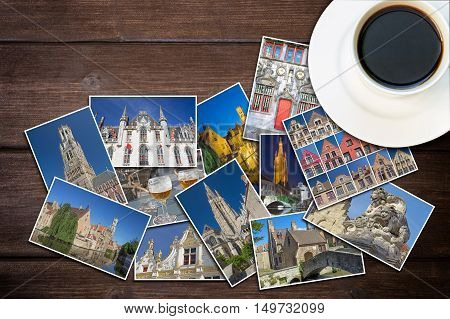 White cup of coffee and photos from Bruges (Belgium) are lying on a wooden desk. Photo is edited as vintage with dark edges.