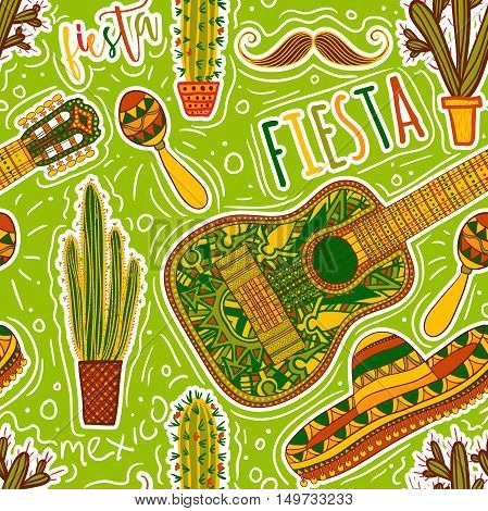 Mexican Fiesta Party. Seamless pattern with maracas, sombrero, mustache, cacti and guitar. Design concept for invitation, banner, card, t-shirt, print, poster. Hand drawn vector illustration