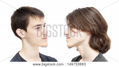 Teenage Boy With   Dark Hair Before And After A Haircit