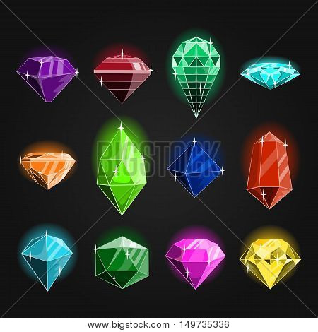 Large set of jewels, gems and diamonds icons