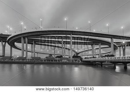 Black and White, Round highway interchanged riverfront, Bangkok Thailand