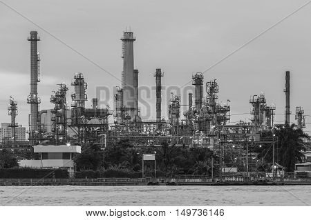 Black and White, Oil refinery river front, heavy industrial background
