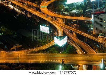 Highway overpass interchanged night view, long exposure