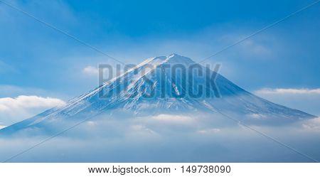 Mount Fuji volcano with blue sky background, natural landscape in Japan