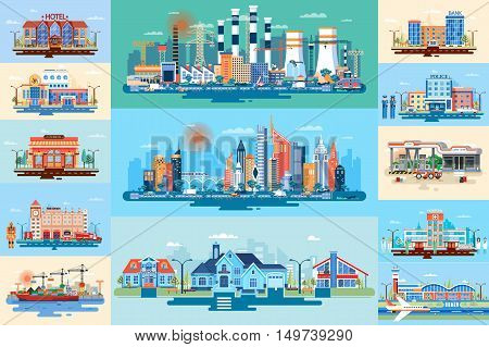 Stock vector illustration set big city elements for infographic in a flat style
