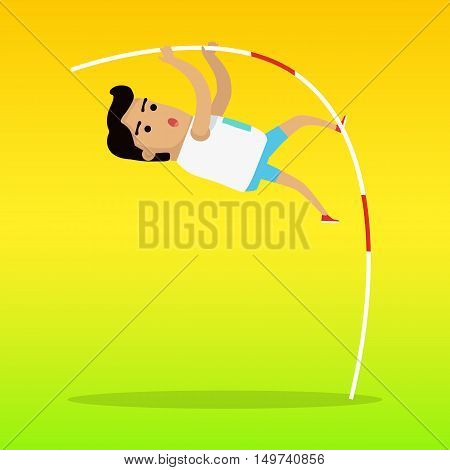 Pole vault sport template. Person uses long, flexible pole as an aid to jump over a bar. Vector