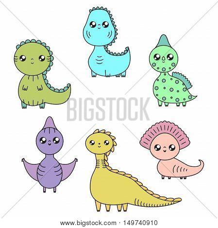Kawaii dinosaurs set. Cartoon characters. Vector illustration