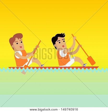 Canoe rowing, sports banner. Two man in orange sports uniform rowing in canoe on river.