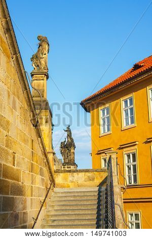 Architecture In Historical Center Of Prague. Prague Is The Capital Of Czechia