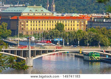 Prague, Czech Republic, September 19, 2011: Evening View On Historical Center Of Prague Above River