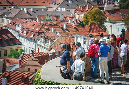 Prague, Czech Republic - August 20, 2011: Unidentified People Visit Famous  Garden In Prague Castle,