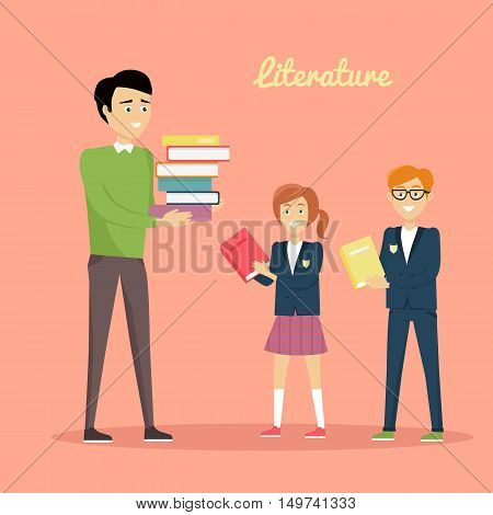 Literature reading concept. Vector in flat style. School lessons and library visiting illustration. Teacher with pile of books and pupils with textbooks in hands standing on color background.