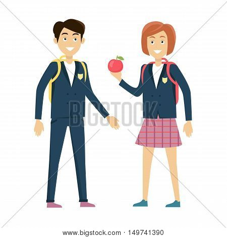 School lunch concept vector. Flat design. Smiling pupils boy and girl with backpacks and apple standing on white background.