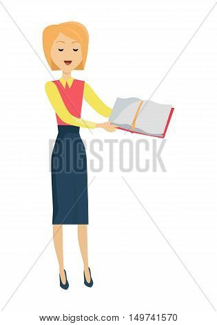 Blonde school teacher in red blouse and blue skirt. Smiling teacher with textbook in hand.  Vector illustration
