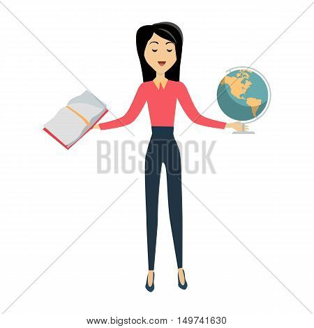 Brunette school teacher in red blouse and blue pants. Smiling teacher with earth globe and textbook in hands.