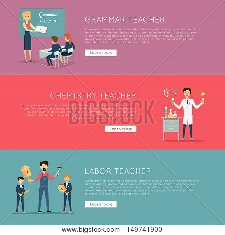 Educational concept. Set of banners with different teaches professions. Grammar, Chemistry, Labour. Professional education. Website design template in flat. Banner, landing page. Vector illustration.