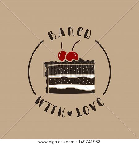 Baked with love. Bakery vector logotype. Hand drawn vector cake.