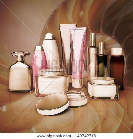 Daily beauty care cosmetic. Face cream eye cream serum and lip balm skin care. 3D illustration