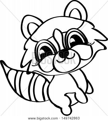 Charming humorous raccoon. Meditative exercises. Black and white. Line icon profile view.