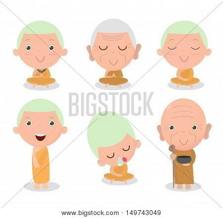 Buddhist Monk Character, Buddhist Monk cartoon, Monk set, Thai monks,Chinese monks, monk sitting peacefully in meditation,Chinese Buddhist priest, Buddhist monasticism, neophyte take meditate .