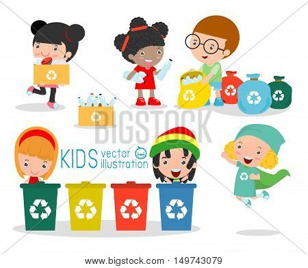 Children collect rubbish for recycling illustration of Collect and save