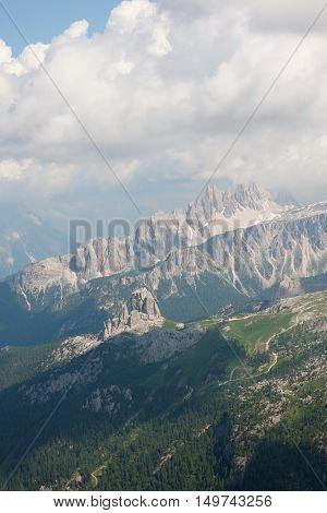 Italian Alps, Dolomites, in Veneto; aerial view.