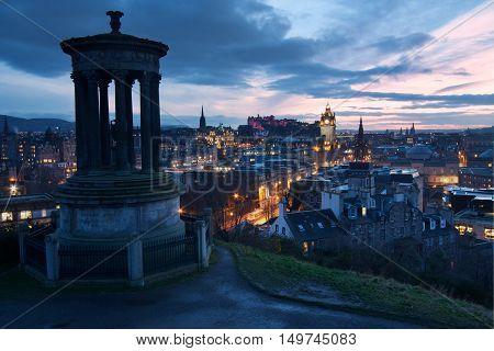 View of Edinburgh at dusk from Calton Hill