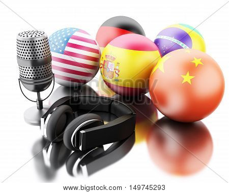 3d renderer image. Foreign languages learning and translate with a mic and headphones. E-learn and translation concept. Isolated white background.