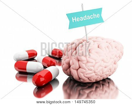 3D Illustration. Brain with some pills and a signboard with the word headache. Isolated white background.