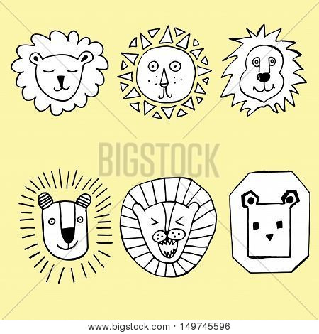 Collection of lions. Portrait of a lion. Lion's Heads