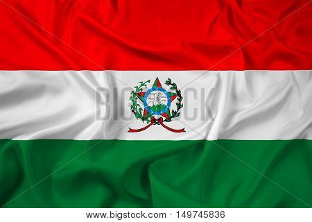 Waving Flag of Afonso Claudio Brazil, with beautiful satin background. 3D illustration